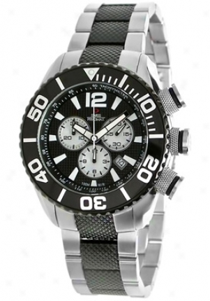 Swiss Precimax Men's Deep Blue Pro Two Tone Stainless Steel Chronograph Black Dial Sp12011