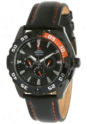 Swiss Precimax Men's Formula-7 Xt Black Leather Multi-function Black Dial Sp12048