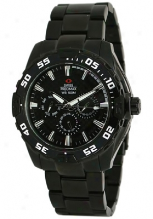 Swiss Precimax Men's Formula-7 Xt Black Stainless Steel Swiss Multifunction Black Dial Sp2049