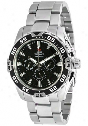 Swiss Precimax Men's Formula-7 Xt Silver Stainless Steel Swiss Multi-fucntion Black Dial Sp12045