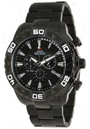 Swiss Precimax Men's Valor Elite Black Stainless Armor Chronograph Black Dial Sp12053
