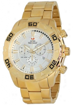 Swiss Precimax Men's Valor Elite Gold Stainless Steel Chronograph Silver Dial Sp12054