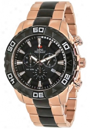 Swiss Precimax Men's Valor Elite Rose Gold Stainless Steeel Chronograph Black Dial Sp12055