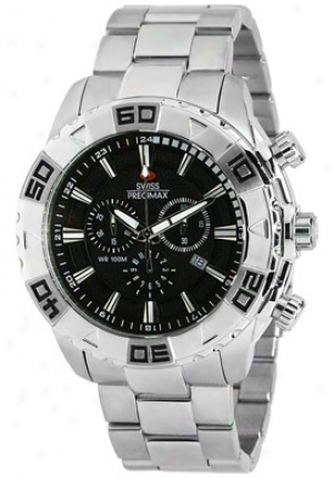 Swiss Precimax Men's Valor Elite Silver Spotless Steel Chronograph Black Dial Sp12051