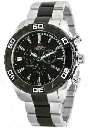 Swiss Precimax Men's Valor Elite Silver Stainless Steel Chronograph Black Dial Sp12056
