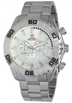 Swiss Precimax Men's Bravery Elite Silver Stainless Steel Chronograph Silver Dial Sp12052