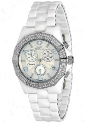 Swiss Precimax Women's Luxe Elite White Ceramic Chronograph Mother Of Pearl Dial Sp12042