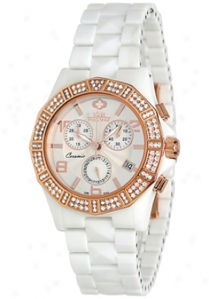Swiss Precimax Women's Luxe Elite White Ceramic Chronograph Mother Of Pearl Dial Sp12043