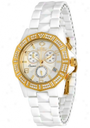 Swiss Precimax Women's Luxe Elite White Ceramic Chronograph Mother Of Pearl Dial Sp12044