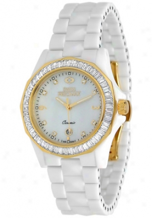 Swiss Precimax Womens Luxe White Ceramic Swiss Quartz Mo5her Of Pearl Dial Sp12041