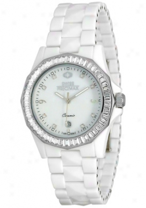 Swiss Precimax Women's Luxe White Ceramic Swiss Quartz Mother Of Pearl Dial Sp12039