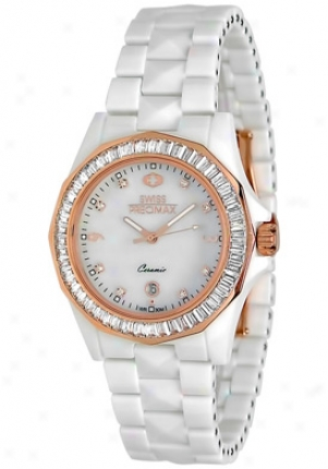 Swiss Precimax Women's Luxe White Ceramic Swiss Quartz Mother Of Pearl Dial Sp12040