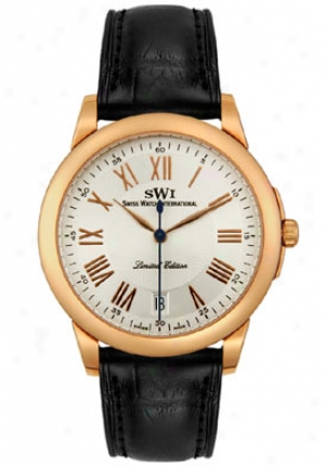 Swizs Watch International Men's Limited Edition 18k Solid Rose Gold Case Mourning Alligator Strap Q7200.g.s.a1