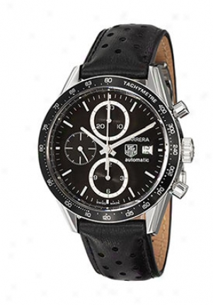 Tag Heuer Carrera Black Dial Leather Men&#O39;s Automatic Chronograph Cv2010-fc6233
