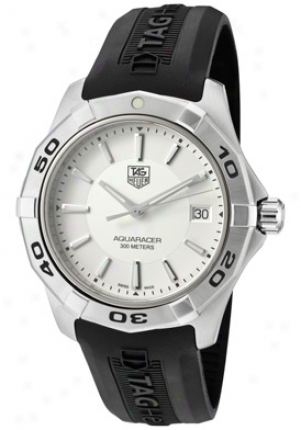Tag Heuer Men's Aquaracer Silver Dial Black Rubver Strap Wap1111.ft6029