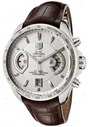Tag Heuer Men's Grand Carrera Automatic Chronograph Silver Dial Brown Alligator Cav511b.fc6231
