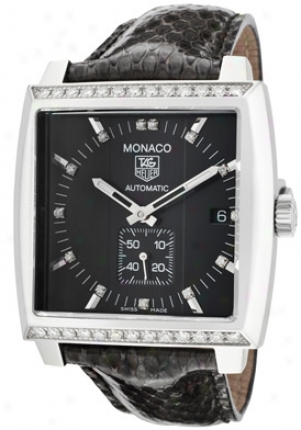 Tag Heuer Monaco Automatic White Diamond Black Dial Black Python Ww2118.fc6216