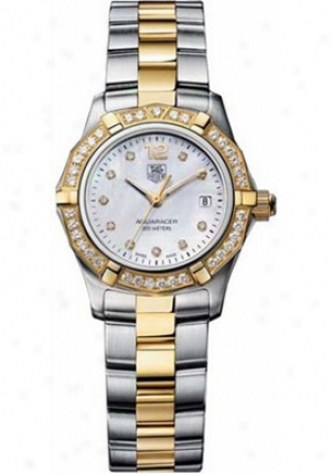 Tag Heuer Women's Aquaracer White Dial 18kt Two Tone Waf1450.bb0814