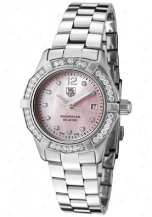 Tag Heuer Women's Aquaracer White Diamond (0.62 Ctw) Pink Mother Of Pearl Dial Stainless Steel Waf141b.ba0824
