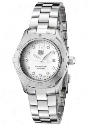 Tag Heuer Women's Aquaracer White Diamond White Mother Of Pearl Dial Stainlesw Steel Waf1415.ba0824