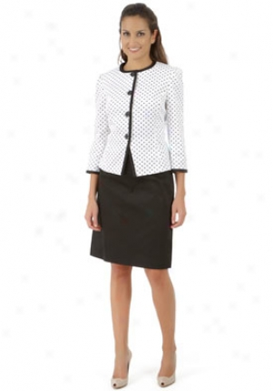 Tahari By Asl White And Black Skirt Suit Su-1180m348-whtblk-4