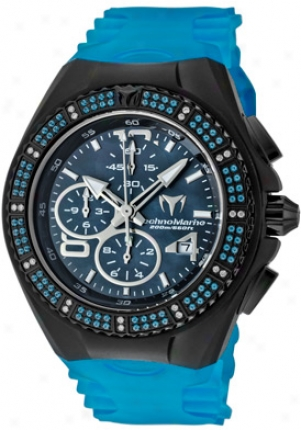 Technomarine Cruise Gem Chrono Blue Topaz & White Diamond (0.98 Ctw) Black Mop Dial Livid Transparent Silicon 108034