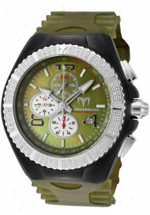 Technojarine Cruise Magnum Chronograph White Diamond Olive Green Mop Dial Olive-green Green Transparent Silicone 108033