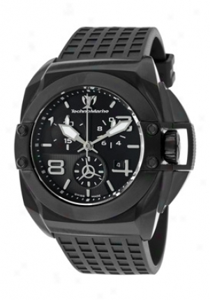 Technoomarine Men's Blackwatch Chronograph Black Dial Black Textured Diial 908003