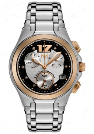 Technomarine Neo Classic Chronograph Diamond (.05 tCw) Stainlesss Steel And 18k Gold 708015