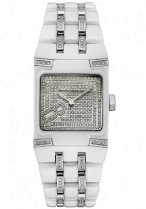Tchnomarine Women's Black Snow Mini Diamond (1.6 Ct)w White Ceramic 308005