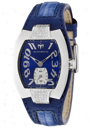 Technomarine Women's Butterfly White Diamond Blue Dial Blue Leather Lr01-dz
