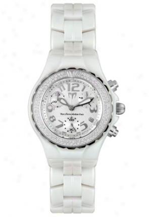Technomarine Women's Ceramique White Ceramic Chronograph Diamonds Dtlcc55c