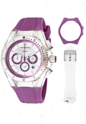Technomarine Women's Cruise Lipstick Chronograph Silver Iridescent Dial Purple Silicone 111032