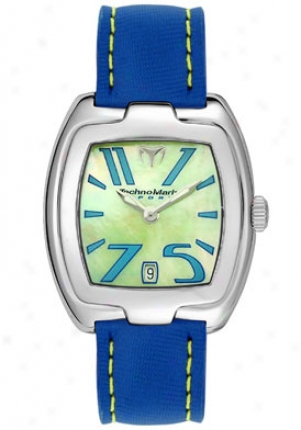 Technomarine Women's Red Square Blye Fabric Yellow Mother Of Pearl Dial Rsql01