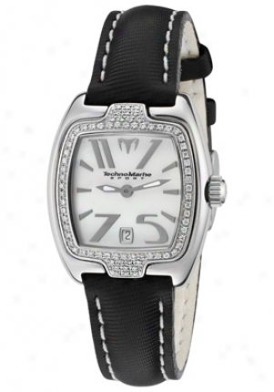 Tschnomarnie Women's Red Square White Diamond White Mop Dial Black Textured Leather Drsql05