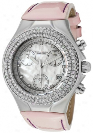 Technomarine Women#039;s Technodiamond Chronograph Diamond (1.1 Ctw) White Mop Doal Light Pink Patent Genuine Leather Dtmww-0-1016