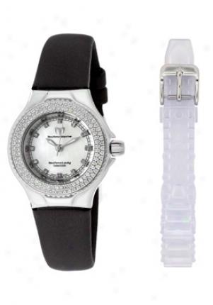 Technomarine Woken's Technolady Diamond (0.64 Ctw) White Mop Dial Black Satin Dtlsw