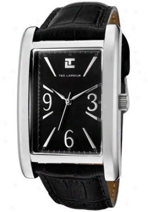 Ted Lapidus Men's Black Dial Black Leather 5110207