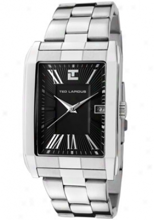 Ted Lapidus Men's Black Textured Dial Stainless Steel 5113604
