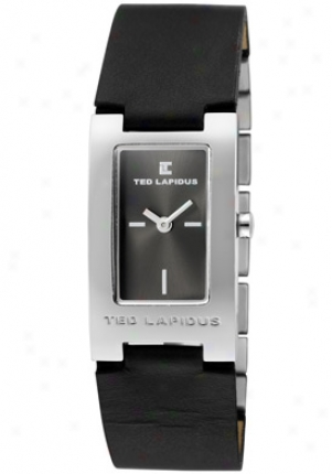 Ted Lapidus Women's Charcoal Dial Ss & Mourning Leather D0455rnin