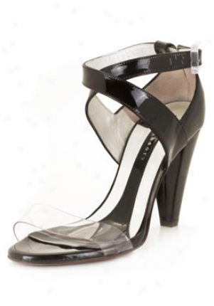 Theory Blacj Patent Leather Sandals 47016-blk-38.5