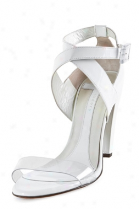 Theory White Patent Leather High Heel Sandals Theoryfw-47017-wht-39.5