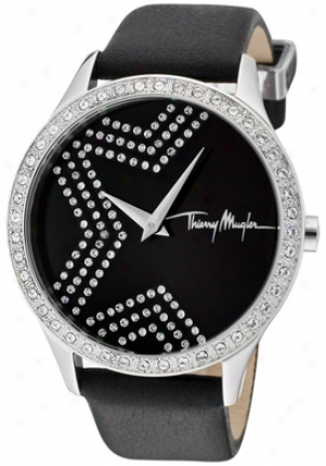 Thierry Mugler Women's White Crystal Black Dial Black Leather 4711302