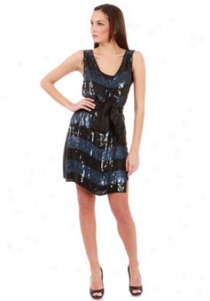 Thread Social Navy And Black Sequins Bib Dress Dr-830060