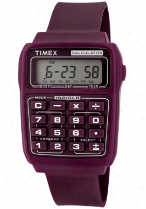 Timex Calculator Multifunction Grey Digital Dial Berry Resin 2n189
