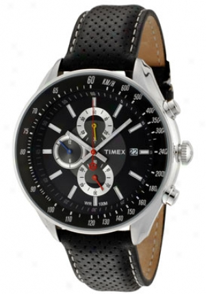 Timex Men's Sl Series Chronograph Black & Grey Dial Black Leather 2n156