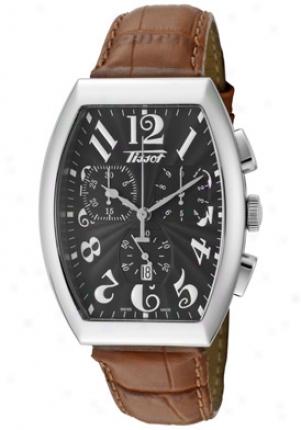 Tissot Men's Heritage Porto Chronograph Black Guilloche Dial Brown Leather T66.1.617.52-sd