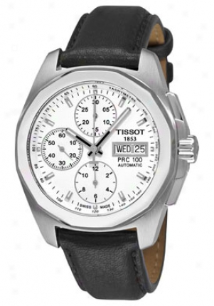 Tissot Men's T-sport Prc 10O Automatic Chronograph White Dial Black Leather T0084141603100