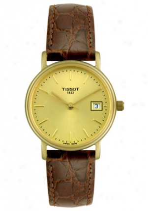Tissot Women's Gold Tone Dial Brown Leather T52.5.111.21