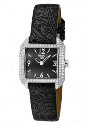 Tissot Women's T-trend T-wave White Diamond Black Genuine Leather T02.1.425.52